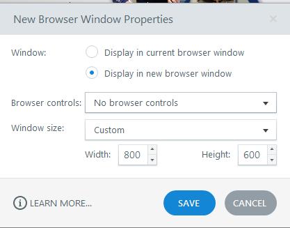 New Browser Window Properties