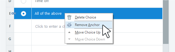 How to remove an anchor from an answer choice in Articulate Storyline 360