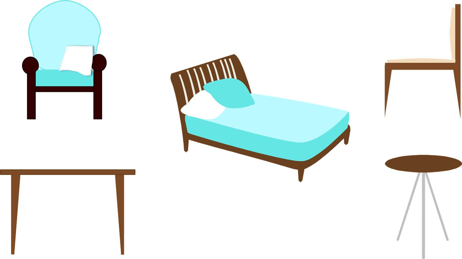 Chair, Armchair, Table, Coffee Table, Bed
