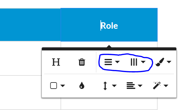 row and column buttons