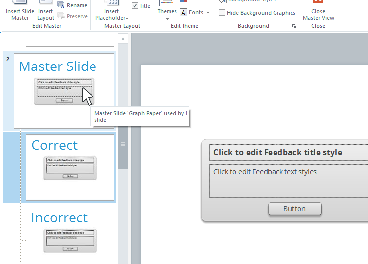 Feedback Master Slide and Layouts in Articulate Quizmaker 360