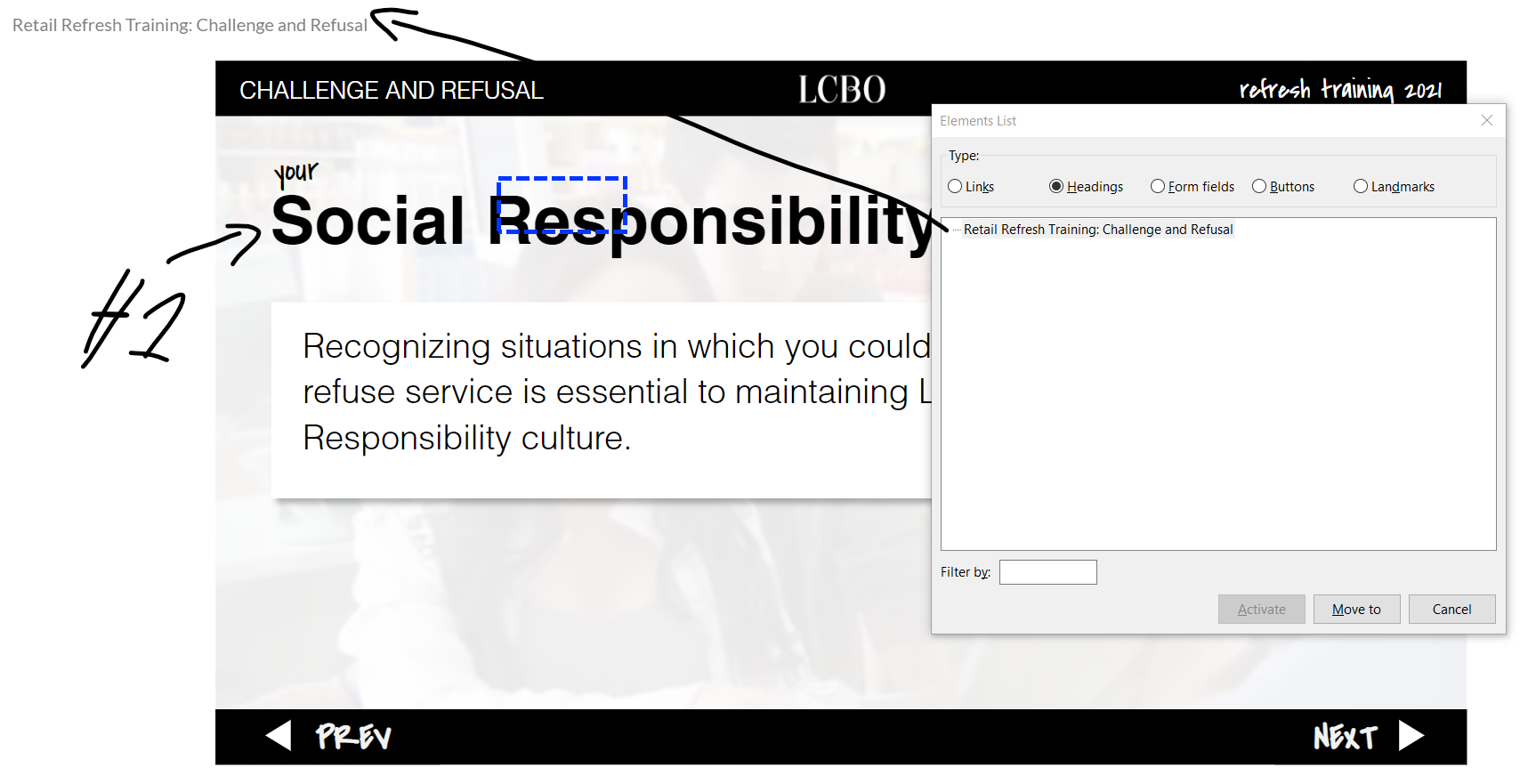 slide with an h1: social responsibility