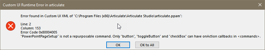 specific information of error dialog box