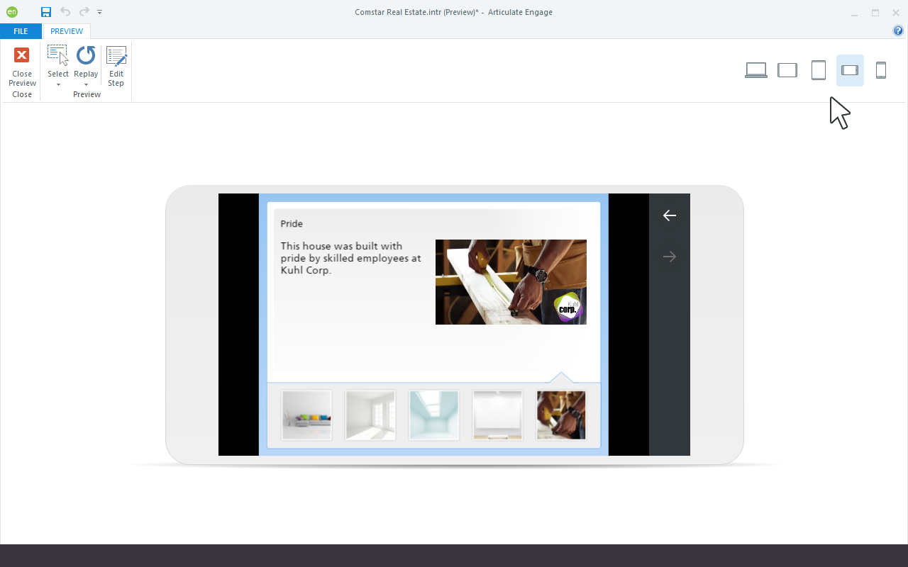 Responsive Preview in Articulate Engage 360