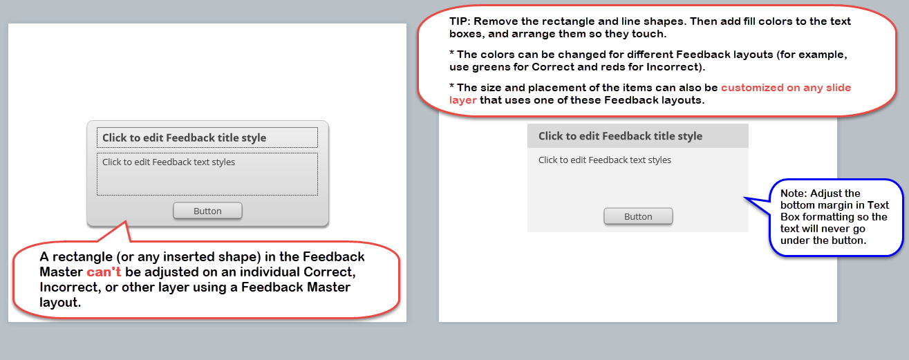 examples of default and customized feedback layout