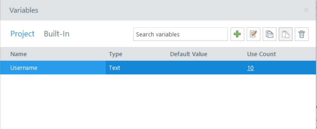 Variable screenshot