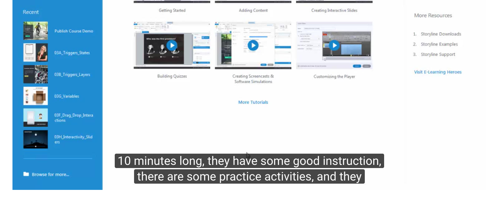 Closed captions on video tutorials - Articulate Storyline
