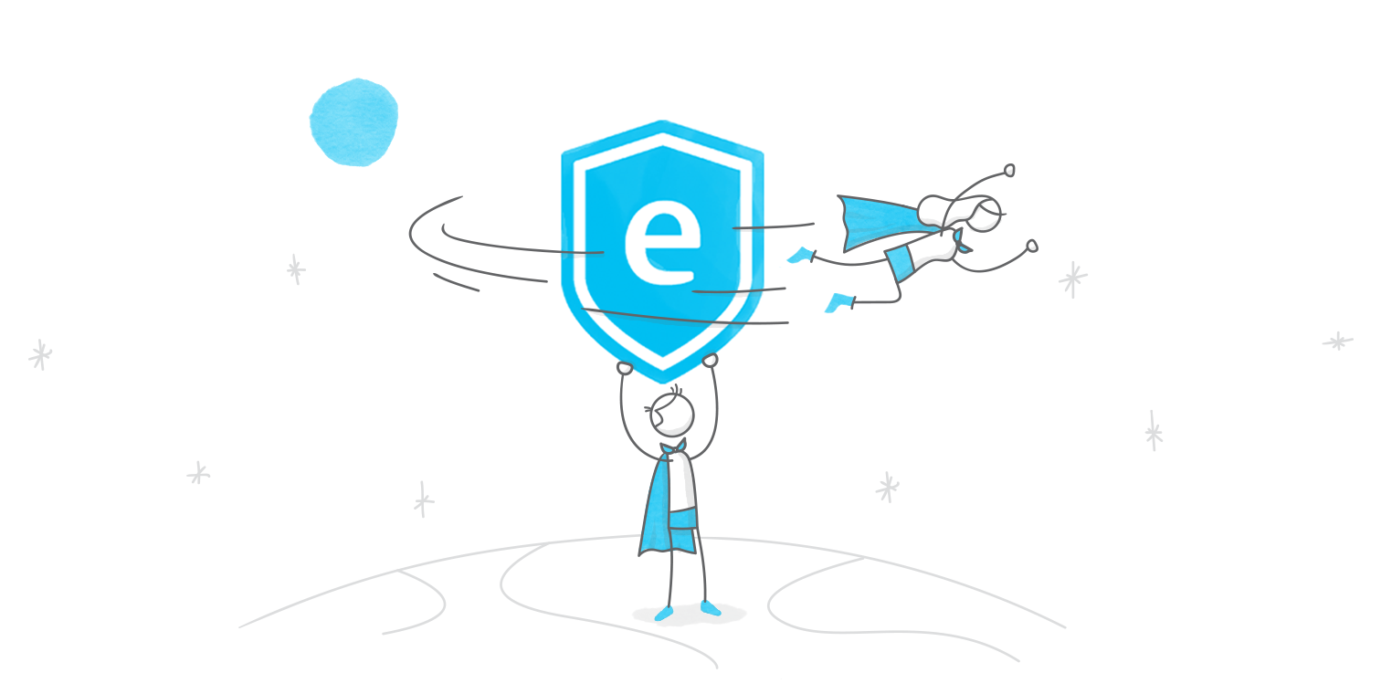 hero illustration of a character holding the E-Learning Heroes logo aloft while a second character flies around it; both characters are wearing capes and appear to be in space