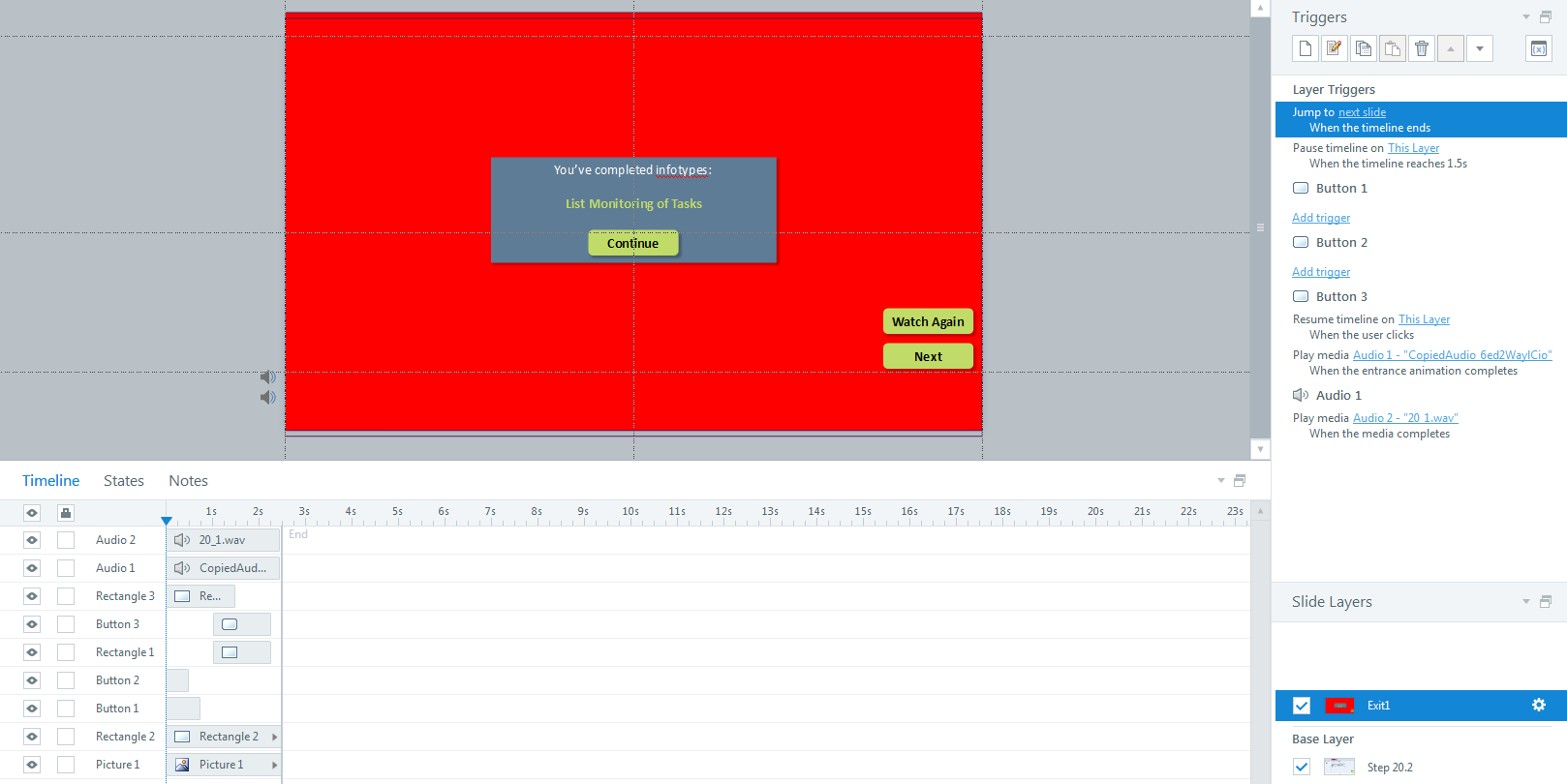 Pausing timeline and pausing audio Articulate Storyline