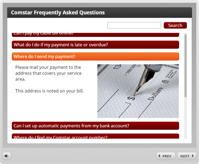 Example of an FAQ interaction in Articulate Engage 360