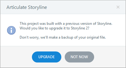 Prompt to Upgrade Project File