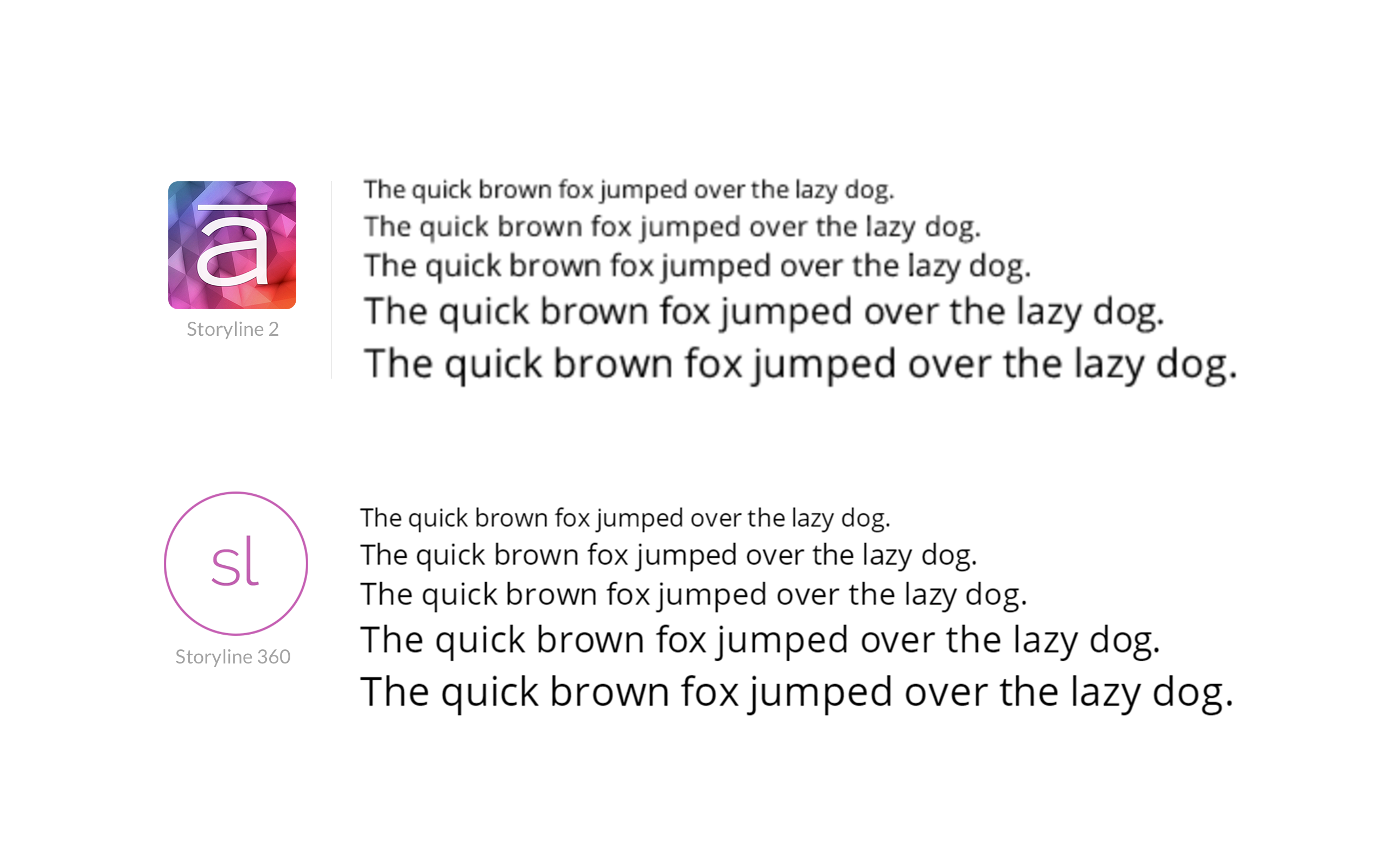 comparing the display of vector shapes for fonts versus web fonts in improved HTML5 output of Storyline 360