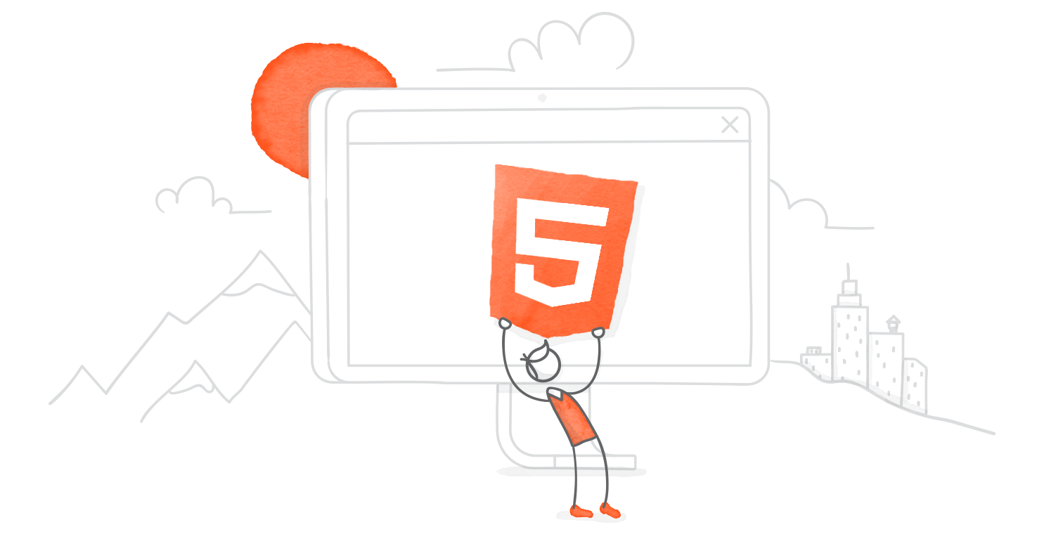 illustrated hero image of characters celebrating around an HTML5 logo