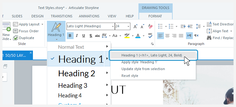 The text style drop-down list showing the Heading 1 sub-menu with its style definition header