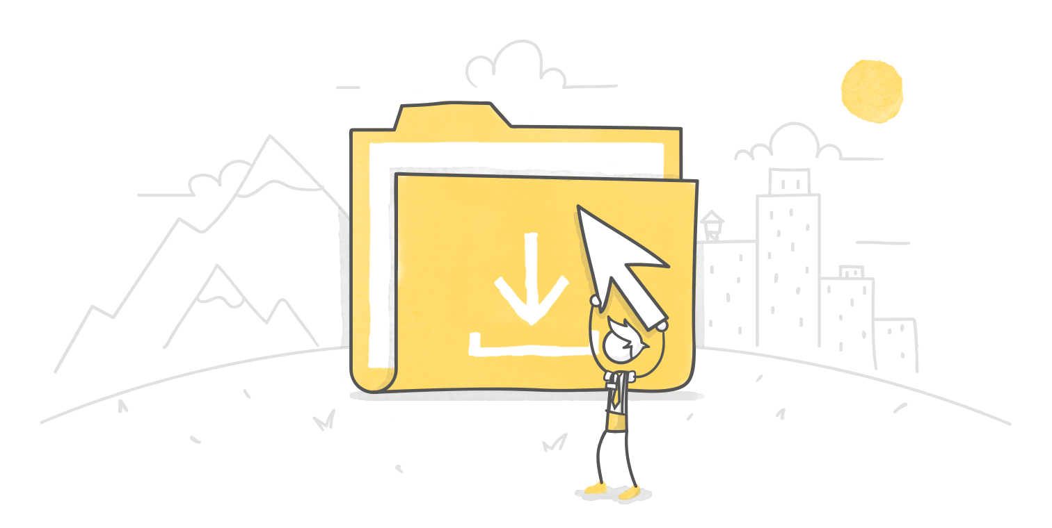 illustrated hero image of a character holding a giant arrow clicking an oversized folder