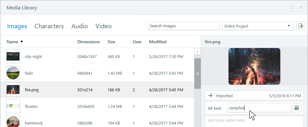 Storyline 360: Managing a Project's Assets with the Media