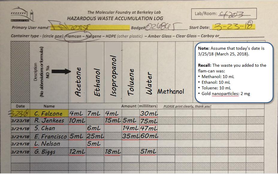 Accumulation Log example