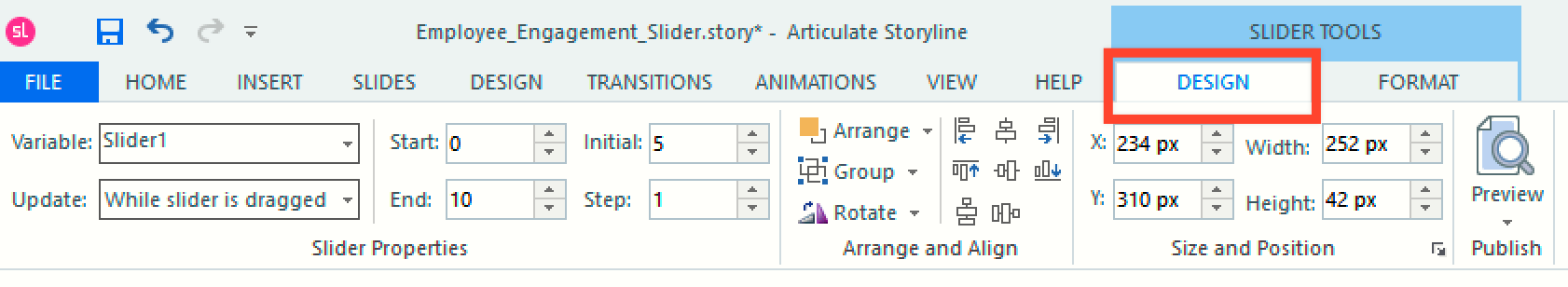 The Design tab on the Slider Tools menu in Storyline 360