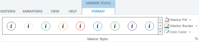 Use the Format tab on the ribbon to change styles, colors, and effects for your interactive markers