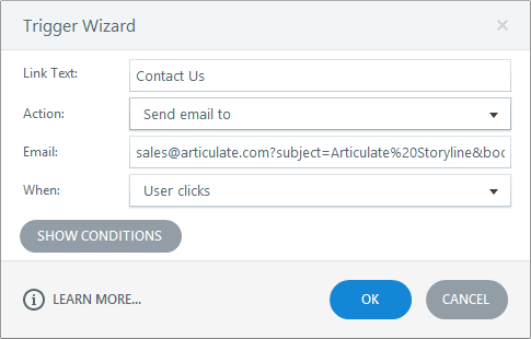 Hyperlinking to an email address in Articulate Storyline 360