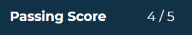 Screenshot of passing score