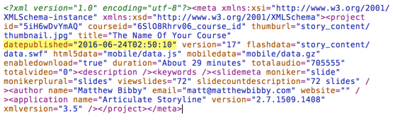 date published in meta.xml