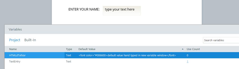 html value