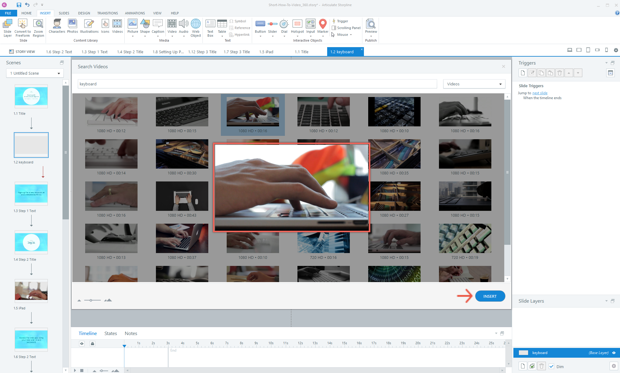 Preview and Insert Content Library Videos in Articulate Storyline 360
