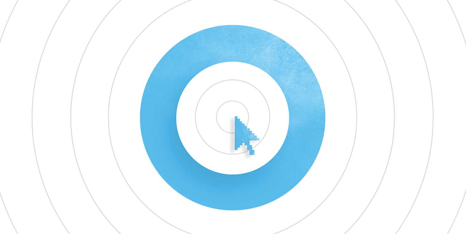 hero illo of a stylized computer cursor clicking inside a blue circle