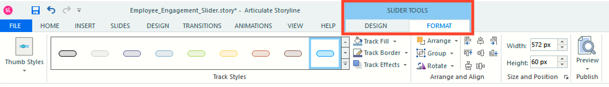 Slider Tools Tabs in Storyline 360