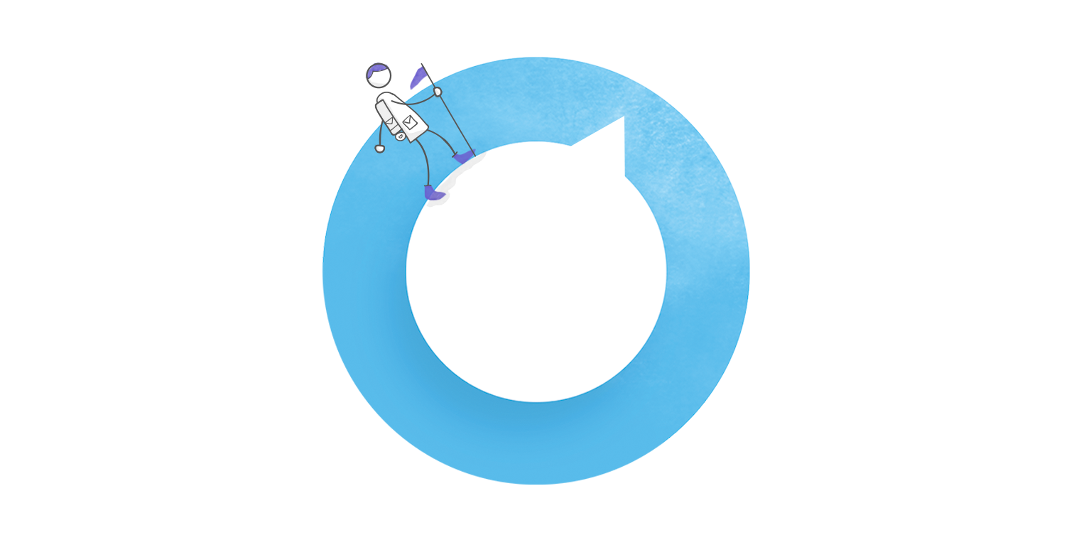 header illustration featuring a character on a dial