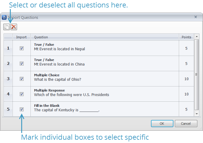 Articulate Question Import Question Selection