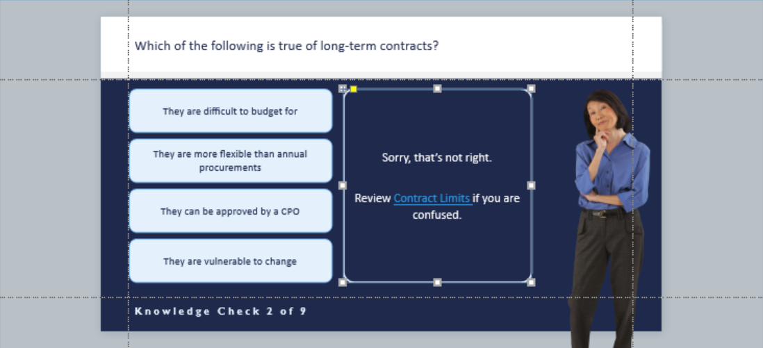 Screenshot of knowledge check with link in feedback field