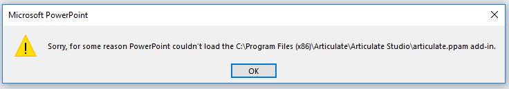 PowerPoint Addin Error