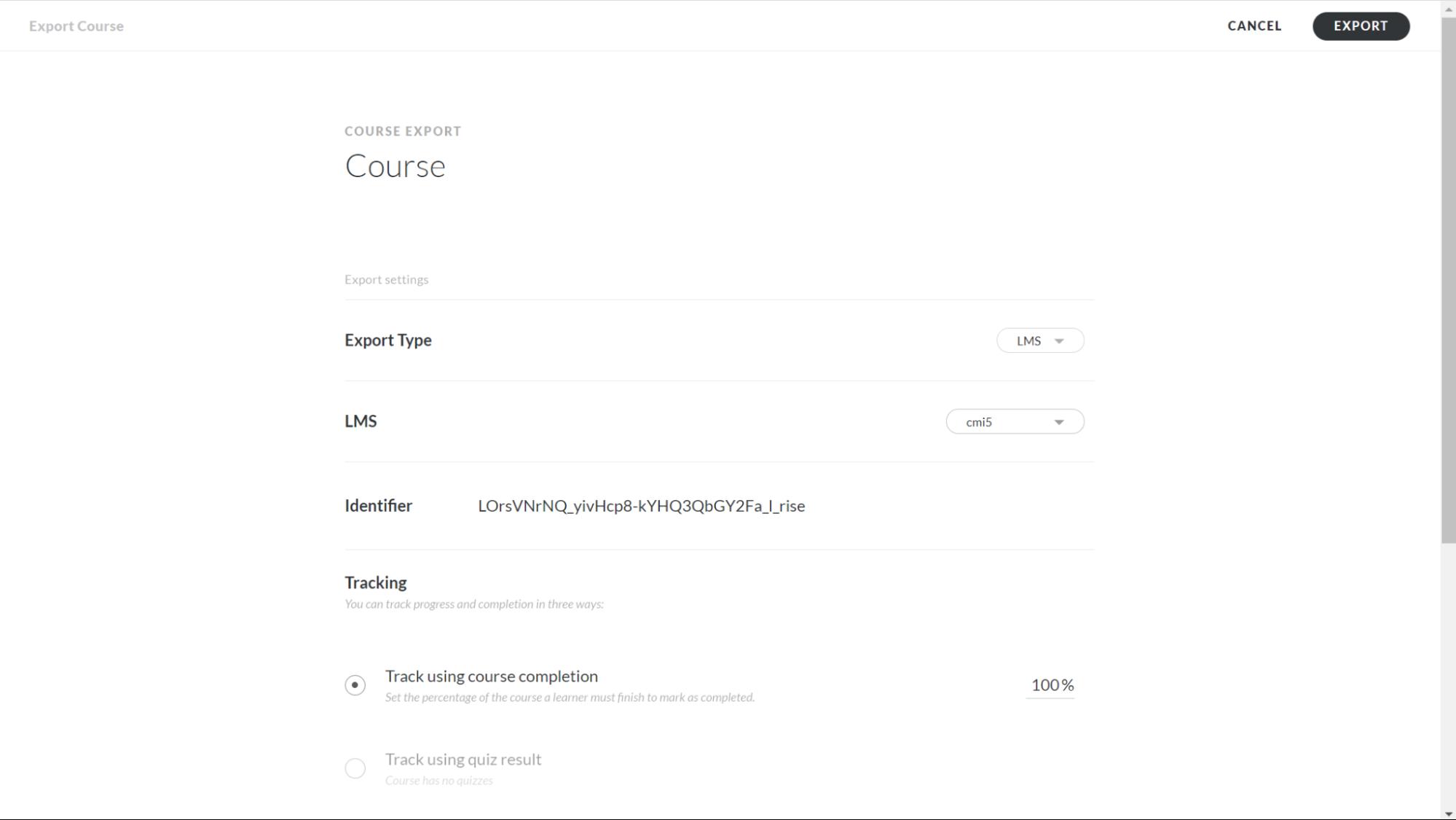 Screenshot of Export page