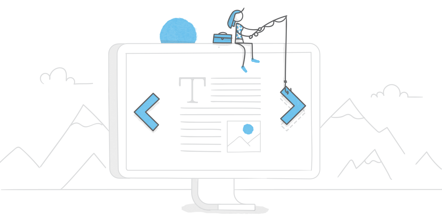 hero illustration of a character sitting on top of a giant monitor fishing for navigation buttons
