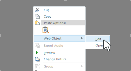 Right-click the web object placeholder, scroll to Web Object, and choose Edit.