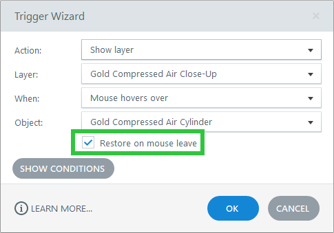 Restore on Mouse Leave checked