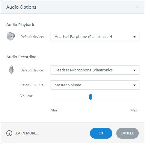 Audio Options Window