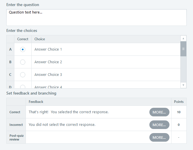 Form View for Question Slides in Articulate Storyline 360