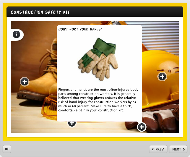 Example of a labeled graphic interaction in Articulate Engage 360