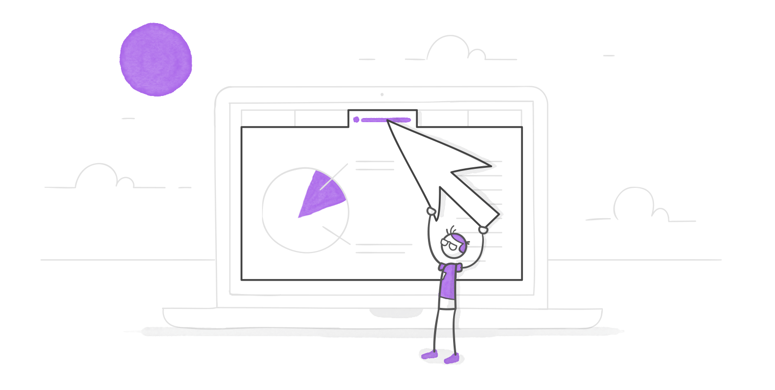 character clicking a tabs interaction on an oversized laptop using a giant cursor