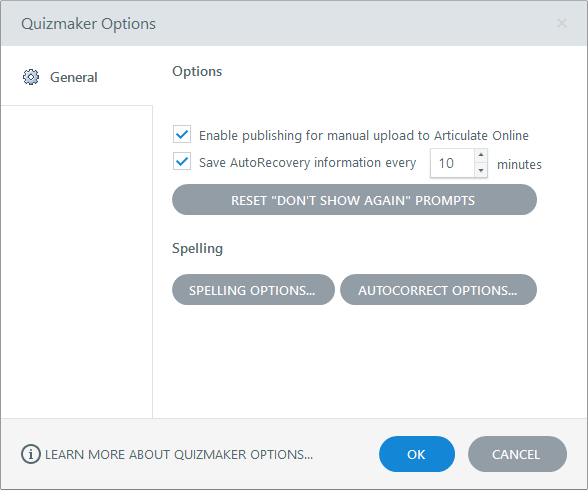Articulate Quizmaker 360 Options