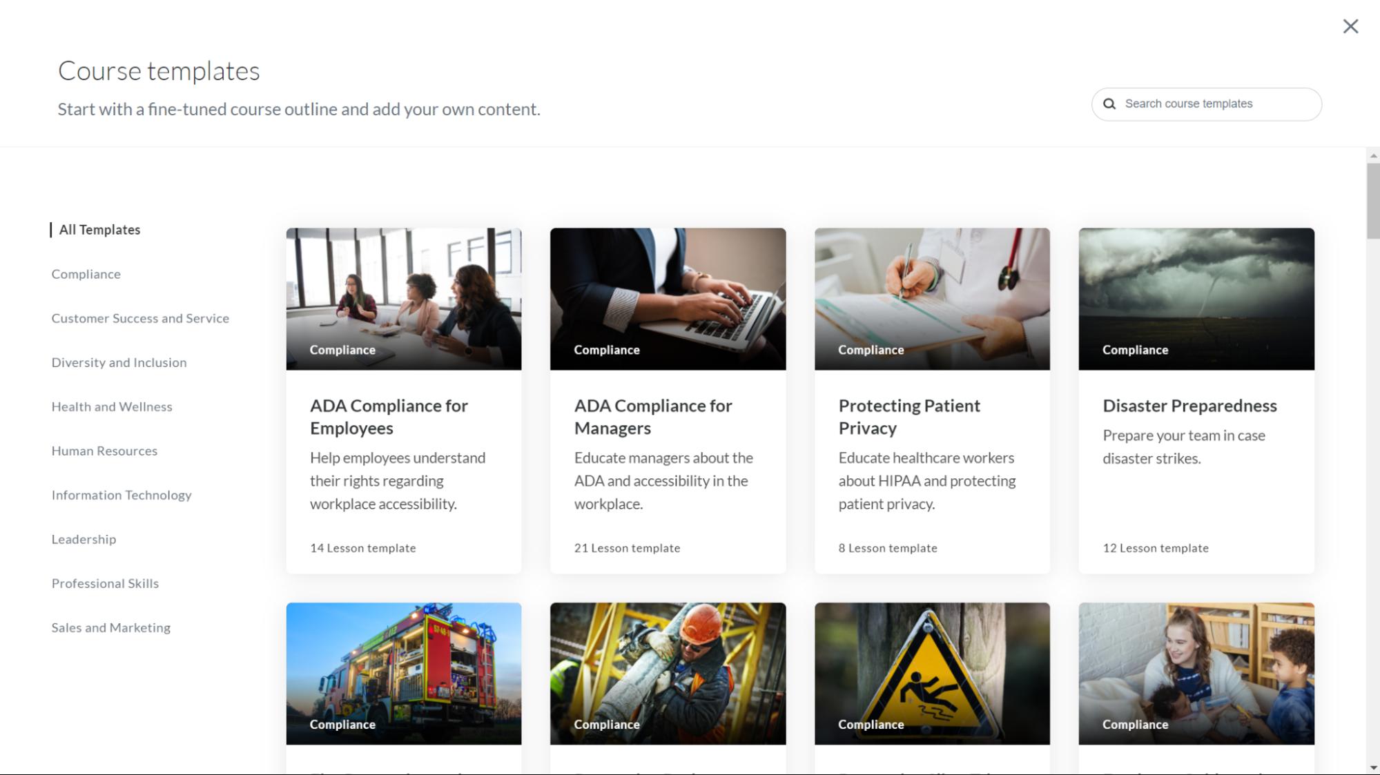 Screenshot of Rise 360 templates