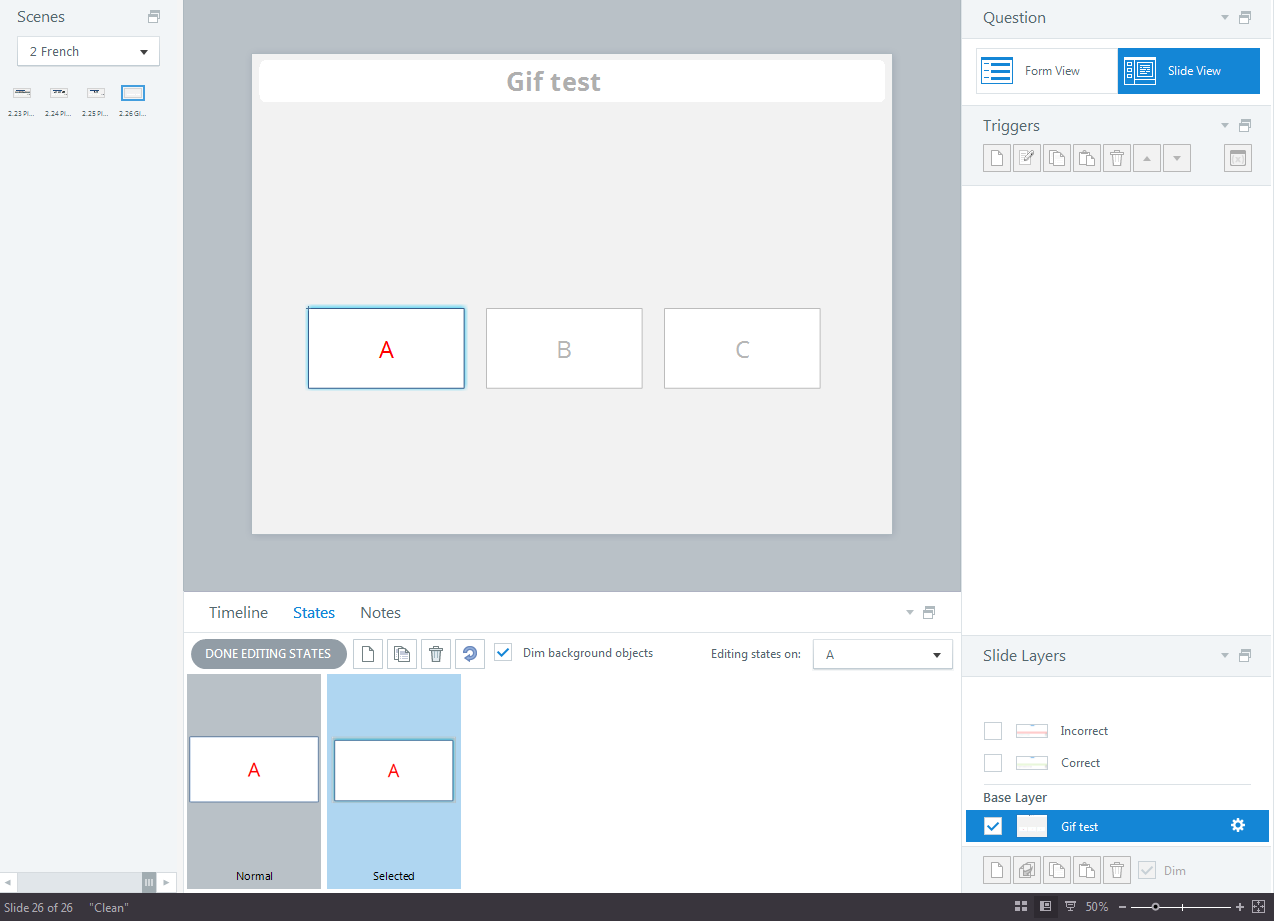Storyline adds a blue glow effect on the selected state of selectable objects in a quizz