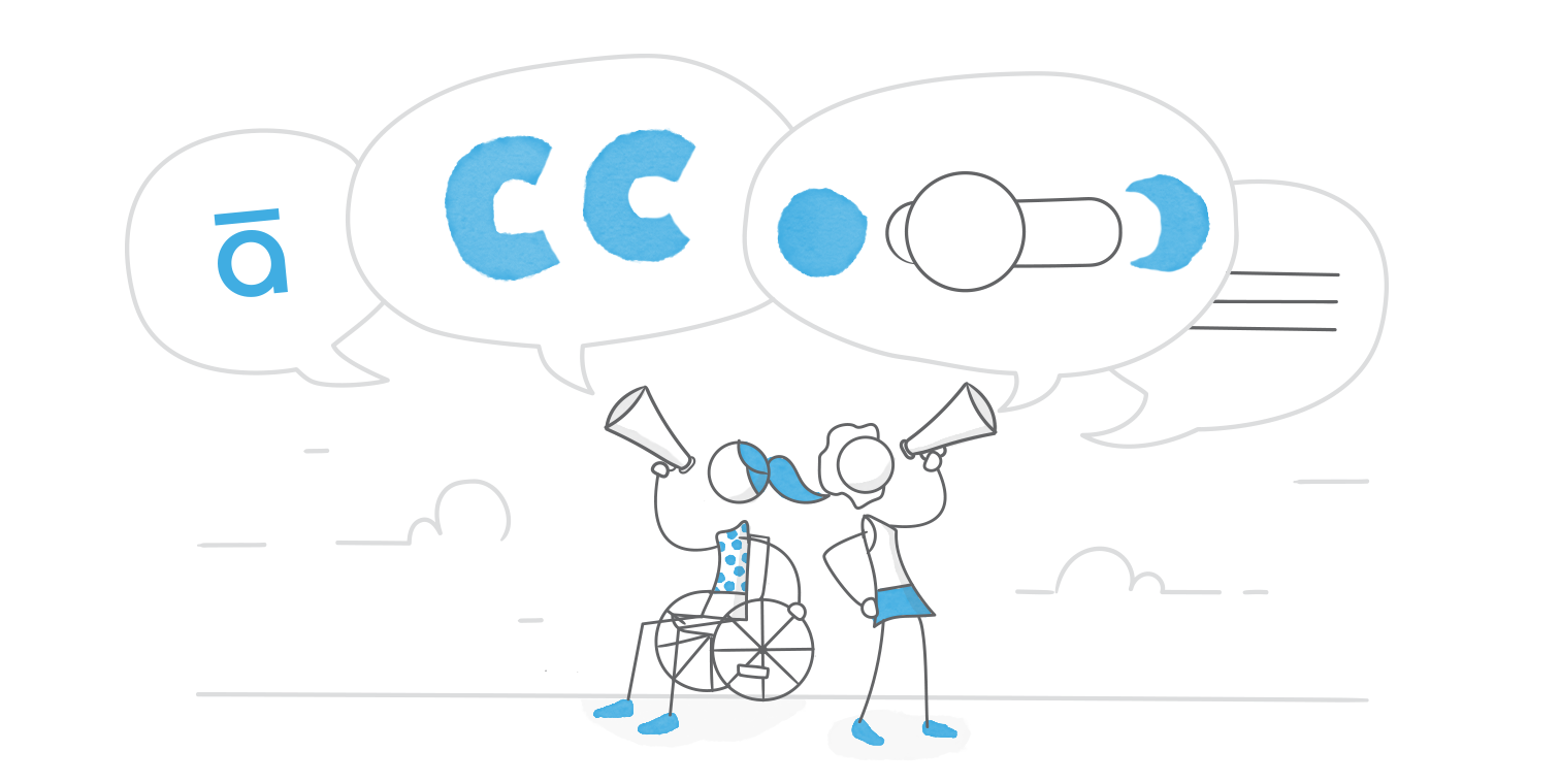 Illustration referencing accessibility features like closed captions and contrast