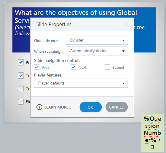 Slide properties of the slide