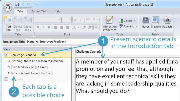 Articulate Engage E-learning Scenario