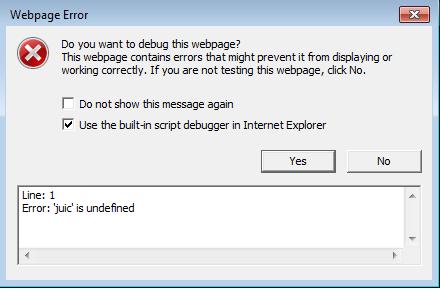 Error: 'juic' is undefined