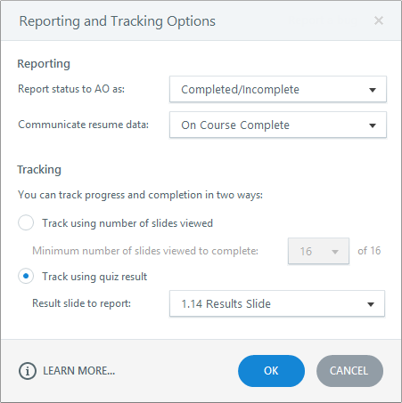 Reporting and tracking options in Articulate Storyline 3